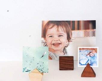 Geometric Photo Holder (set of 3), Wood, Modern, Minimalist, Picture holder, Place card holder