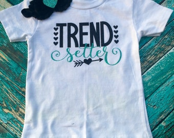 Trend Setter Outfit with Optional Bow. Turquoise and black glitter!