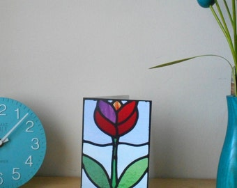 Greeting card Blank Tulip Stained glass design