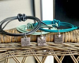 Set of 3 Leather Friendship Bracelet, Adjustable Leather Bracelet, Best Friends Bracelet, Leather Jewelry, Best Friend Gift, Summer Jewelry
