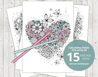 15 Adult coloring pages, digital coloring pages for adult , colour book, color book, print, instant download, printable pdf