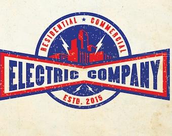 Custom Logo Vintage Electrician Logo, Electrical Logo, Lighting Logo, Sound System Logo, Low Voltage Logo Personalized