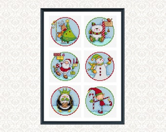 christmas characters - 6 cross stitch patterns
