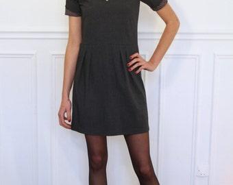 Dress short sleeve Scoop Neck grey steel colori