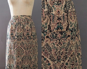 1970's Enchanted Forest Leaves Flowers Psychedelic Printed Indian Cotton Hippe Boho Bohemian Skirt