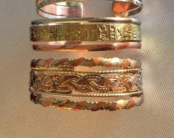 "Set of three handcrafted copper/brass bracelets 6.3"""
