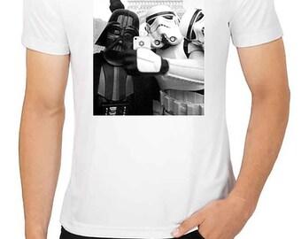 Darth Vader Stormtrooper STARWARS Selfie Shirt Mens White T-shirt - Mens Christmas Gift Birthday Present Tshirt