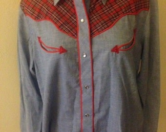 1970's Denim & Plaid Western Shirt
