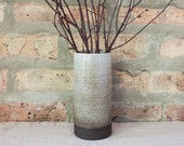 Brown & White Ombré Ceramic Cylinder Vase by Barombi Studios