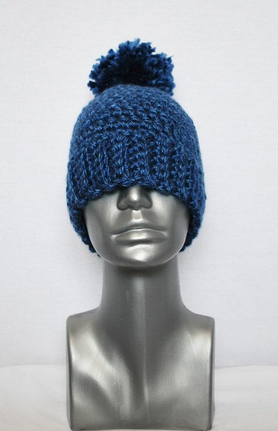 Blue Chunky Pom Hat, Navy Blue Crochet Hat, Winter Beanie with Puff, Knit Hat, Ski Cap