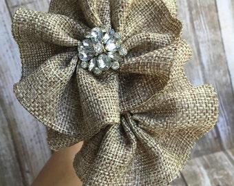 Burlap Flowers on Silver Headband