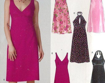 FREE US SHIP New Look Sewing Pattern 6375 Slinky Flirty Halter Empire Dress Old Store Stock Size 6/16