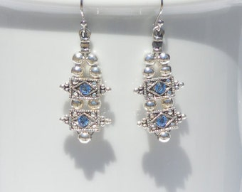 Silver plated bead earrings with Swarovski spacer drops