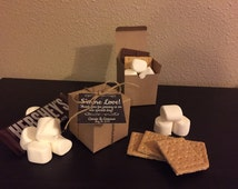 Personalized S'more Wedding Favor with 3x3 Box, Twine and Hanging Tag - Favor Gift Kit (Loving All The Details)