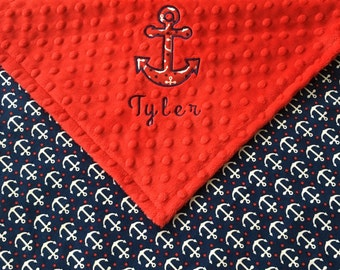 Anchor Baby Blanket, Red Minky Nautical Anchor Blanket, Nautical Theme, Baby Shower Gift, Personalized Nautical Anchor Baby Blanket