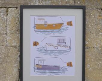 A3 Illustration Print - Boats