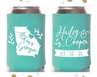State or Province - Wedding Can Cooler #2 - Custom - Bridal Wedding Favors, Beverage Insulators, Beer Huggers