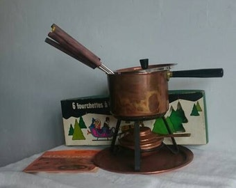 Mid Century Copper Fondue Set, Traditional Swiss Fondue Party Service, Rustic Farmhouse Melted Cheese Dip Set,