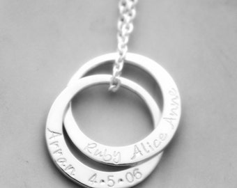 Personalised Pendant Silver -  Handstamped - Russian rings - Linked Circles - Name necklace - Entwined circles - Sterling silver circles