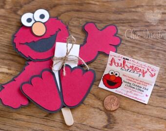 Elmo Invitation, elmo birthday, handmade invitation, birthday invitation Elmo