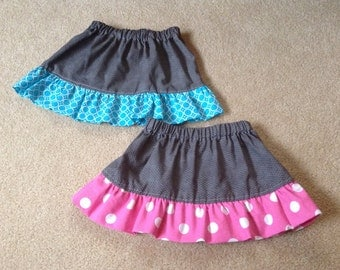 Toddler Gray Skirt with Pink or Turquoise Ruffle