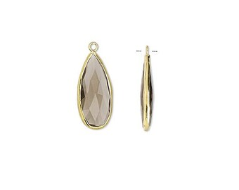 Large Smoky Quartz Teardrop Pendant, Gold Bezel Setting, Earring Components,  27 x 12mm