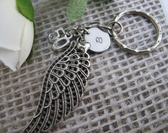 50th Birthday, Gift for women, Guardian Angel wing keychain, Personalized initial keychain,  16th, 18th, 21st, 30th, 40th, 50th Birthday