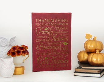 "11x14 Decorative ""Thanksgiving"" Canvas, Thanksgiving Decoration, Thanksgiving Decor, Pilgrims, Family, Blessings, Give Thanks"