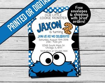 Printed or Digital File - Cookie Monster Birthday Invitation
