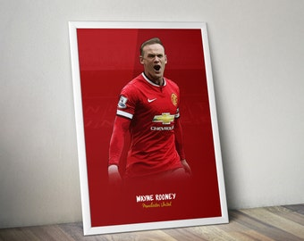Wayne Rooney / Manchester United FC / Illustration Poster Print