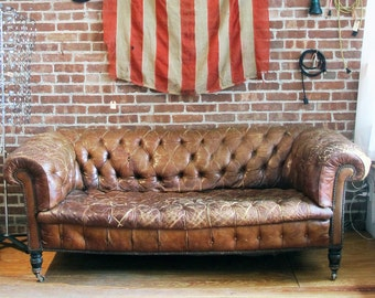 Early 20th C. Leather Chesterfield Sofa