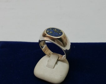 20.3 mm ring 925 Silver lapis lazuli plate SR364