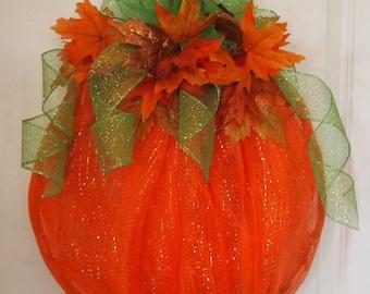 Orange Pumpkin Deco Mesh Pumpkin Shaped Fall Wreath Door Wall Home Decor Fall Autumn Thanksgiving Wreath