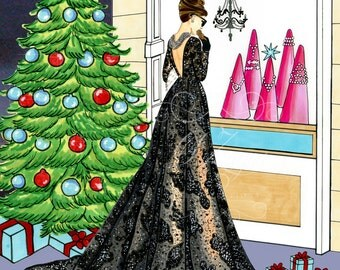 Christmas with Audrey Hepburn- Fashion Illustration (Print)