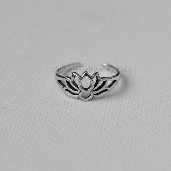 lotus ring adjustable sterling silver ring lotus by