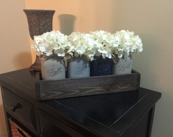 Rustic Planter Box with 4 Painted Mason Jars, Rustic Home Decor, Painted Mason Jars, Home & Living, Mason Jar Decor, Planter Box, Navy Jars