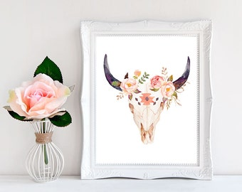 Bull Skull Wall Decor boho print boho wall art boho room decor cow skull print
