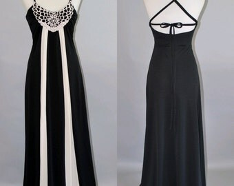 Vintage 1970's Summer Maxi Dress with Back Lace up