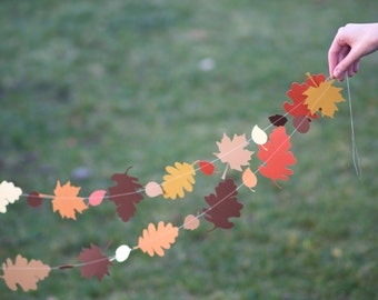 Autumn Fall Leaves Garland, paper garland, autumn home decor, fall autumn leaves decor, fall party garland, autumn decorations, autumn party