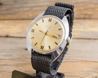 Vintage Poljot mens watch with date window, vintage russian watch, mechanical watch, retro watch, casual watch, ussr ccccp