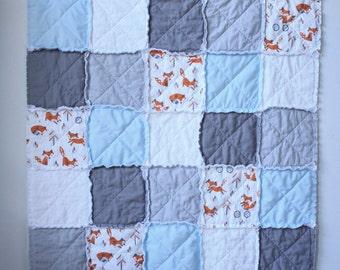Fox rag quilt - Blue rag quilt - Gray white rag quilt - Crib rag quilt - Baby rag quilt