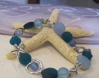 Sea glass and starfish love bracelet ~ blue & teal