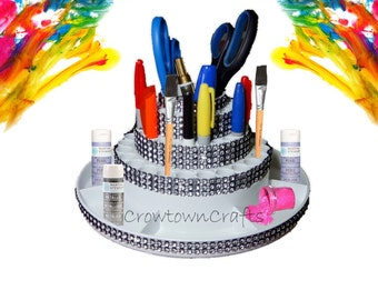Rotating, Carousel, Spin, Makeup, Craft Brush, Office Organizer, Storage for Accessories, Desk - Black or White with Bling, Rhinestone