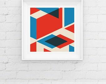 Geometric Minimal Scandinavian Style Giclee Art Print, Mid Century Modern Art