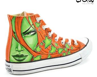 IVY - Poison Ivy shoes, custom comics shoes, handmade sneakers, custom design converse, DC comics shoes, handpainted sneakers, shoe art