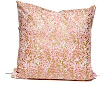 Blush Pink Gold Dot Pillow Cover, Pink Gold Pillow Cover, Metallic Pillow Cover