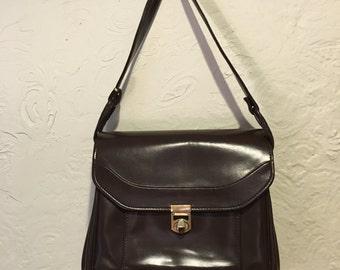 Vintage Bag- Vintage Brown Leather Shoulder Bag