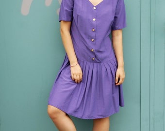 Vintage 80s Babydoll Dress Purple Gold Buttons One Size