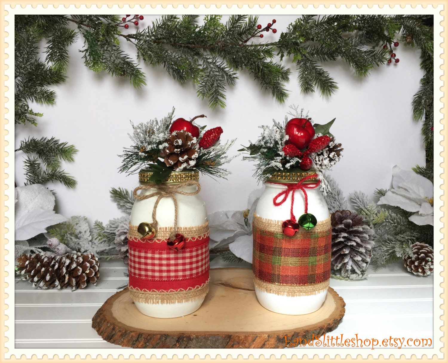 Christmas Mason Jars Holiday Centerpiece Vase Christmas