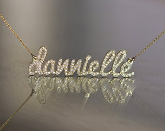 extra tiny name necklace 14k gold necklace solid gold name. Black Bedroom Furniture Sets. Home Design Ideas